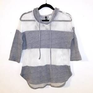 Urban Outfitters Fishnet Striped Gray White Hoodie